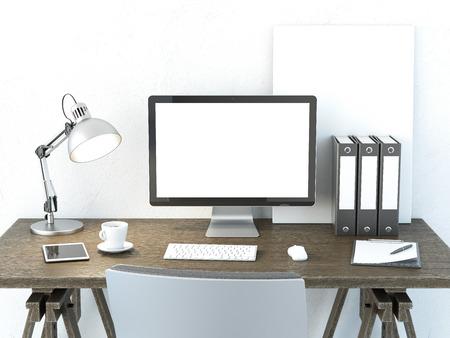 ordinateur bureau: Lieu de travail avec écran d'ordinateur