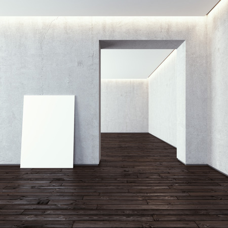 partition: White blank frame in modern gallery