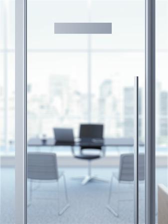 puerta: puerta de la oficina con la placa de identificaci�n Foto de archivo