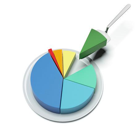 cirkeldiagram op een bord Stockfoto