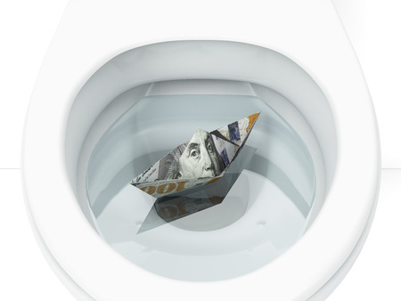 wasting away: White toilet with boat from dollar bill