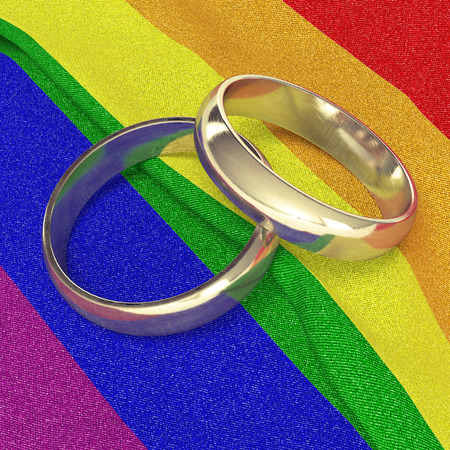 hombres gays: los anillos de boda en la bandera del arco iris