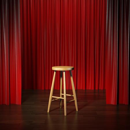 cortinas: taburete en un escenario