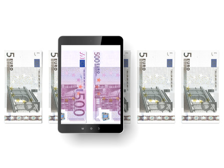 Black tablet pc with euro bills photo