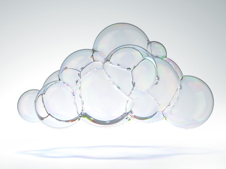 reflection internet: soap bubble in the shape of a cloud