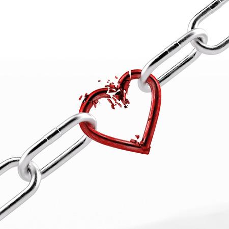 붉은 심장 요소로 부러진 체인 스톡 콘텐츠