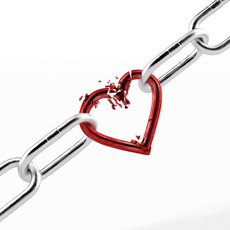 broken chain with red heart element photo