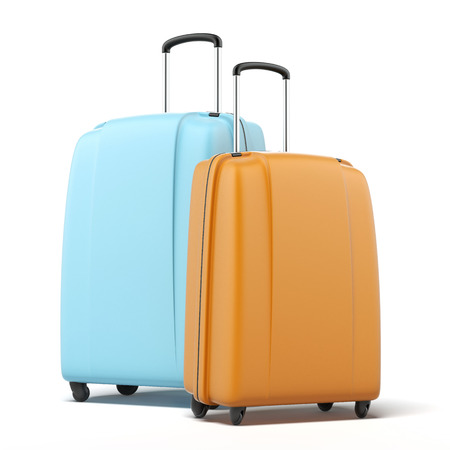packing suitcase: Two large polycarbonate suitcases