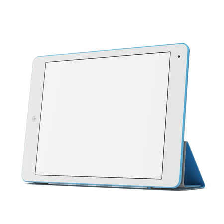 e book device: Modern blue tablet pc Stock Photo