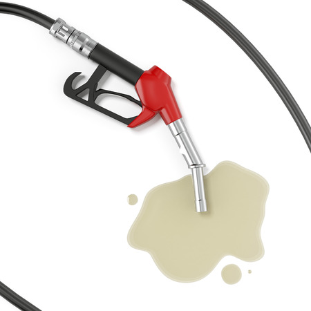 gas station: Red gasoline pump with oil