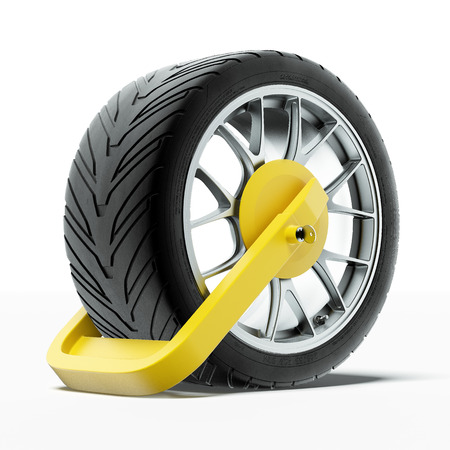 illegally: Car wheel clamp Stock Photo