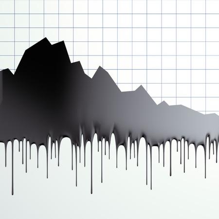 huile: perte de graphique des prix du p�trole Banque d'images