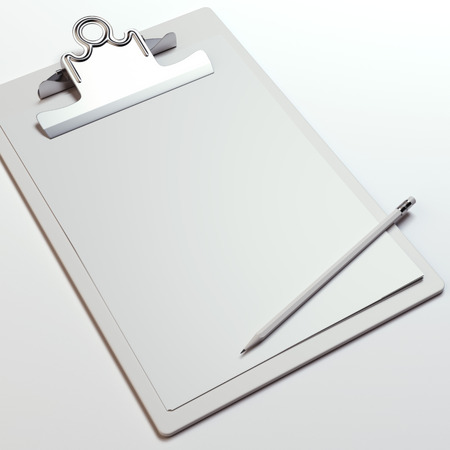 clipboard isolated: Wooden clipboard with blank sheet