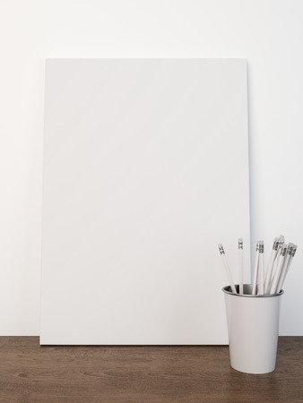 blank canvas: Blank canvas with pencils Stock Photo