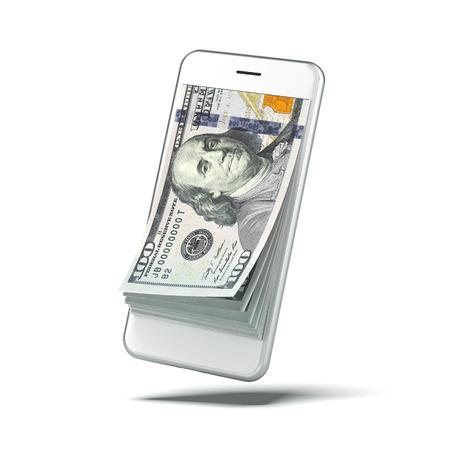 Dollars in witte slimme telefoon