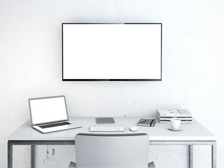 벽에 테이블과 큰 화면 Wotkplace 스톡 콘텐츠