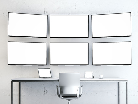 Room with video wall. Stock Photo