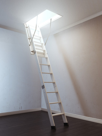 ladder: Room with wooden ladder to the attic Stock Photo