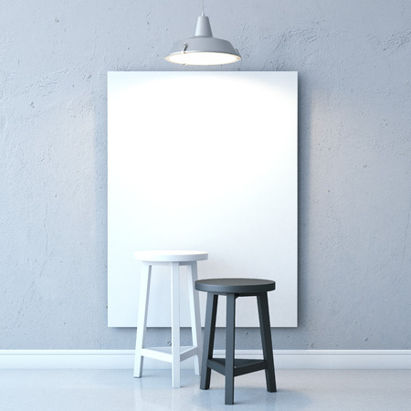 blank canvas: Room with chairs and blank canvas Stock Photo