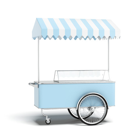 coppa di gelato: Blue ice cream cart Archivio Fotografico
