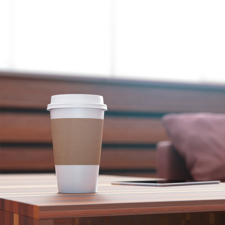 take: Coffee cup on the table Stock Photo