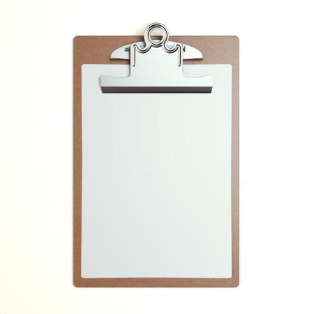 cheque en blanco: Portapapeles de madera con la hoja en blanco