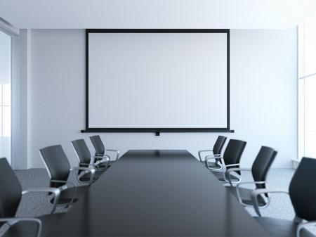 Sala de reuniones vacía con la pantalla blanca Foto de archivo - 35920215