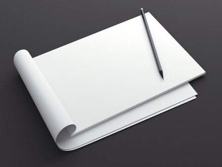 photo realism: Blank sketchbook with pencil Stock Photo
