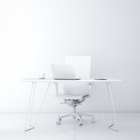 Modern workplace in the office with white wall photo