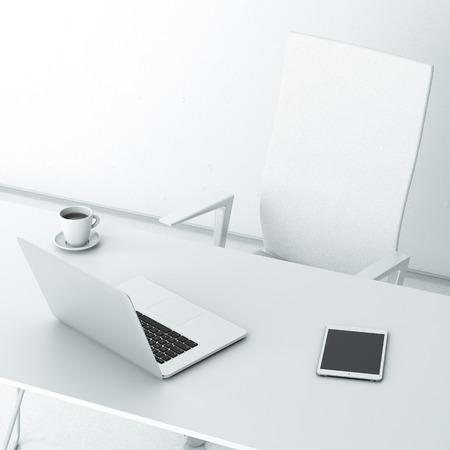 ノート パソコンとオフィスで近代的な職場 写真素材