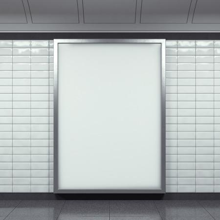 地下鉄駅にビルボードを垂直 写真素材