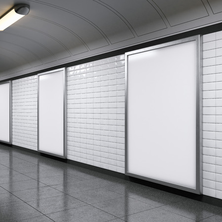 地下鉄駅に縦看板 写真素材