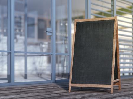 cafe menu: Blank menu board on sidewalk Stock Photo