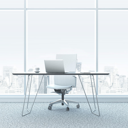 view window: Modern workplace in the office with windows