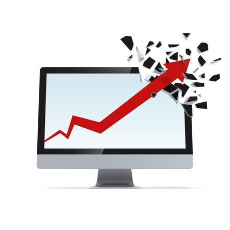 breaks: Growth arrow breaks display Stock Photo