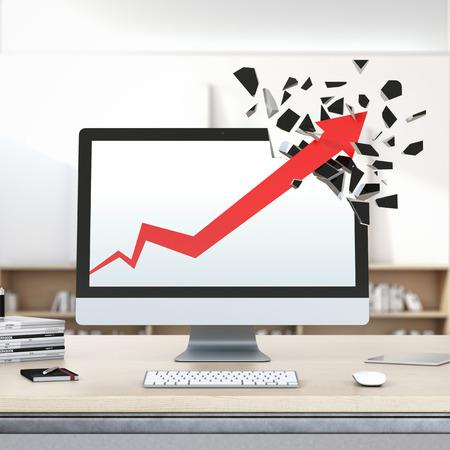 breaks: Growth red arrow breaks computer display. Stock Photo