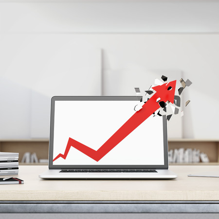 breaks: Growth red arrow breaks laptop display.