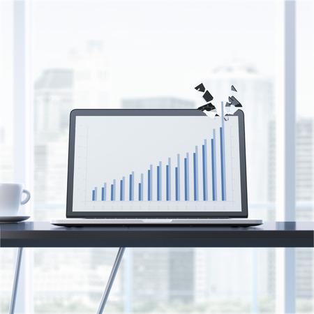 breaks: Growth graph breaks laptop display.