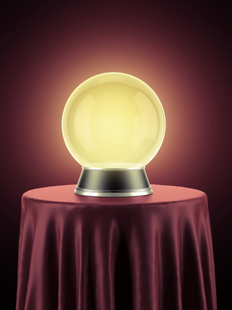 magic ball: Yellow magic globe on table covered with red cloth Stock Photo
