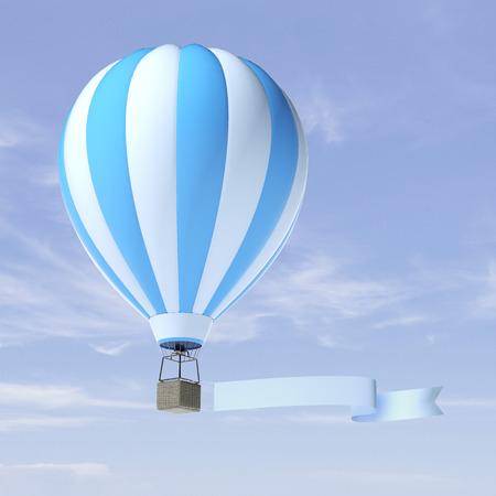 hot announcement: air balloon advertisement Stock Photo