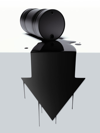 oil barrel: Barrel with spilled oil in the form of arrow Stock Photo
