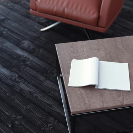 hoja en blanco: Revista en blanco sobre la mesa