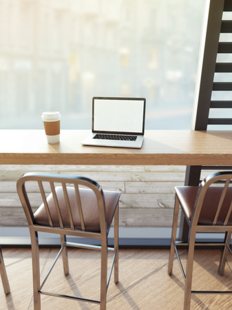 Laptop on cafe table