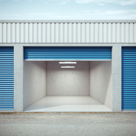Empty storage unit with opened door