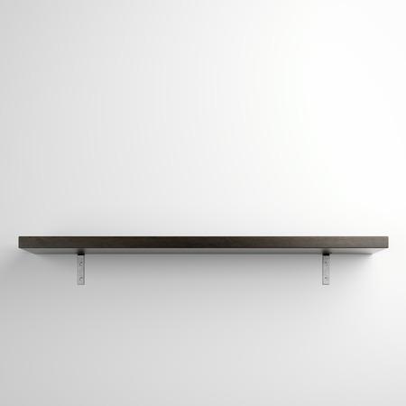 Houten plank op witte muur