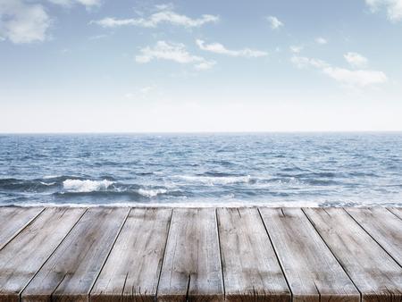 berth: Sky and ocean with wooden berth