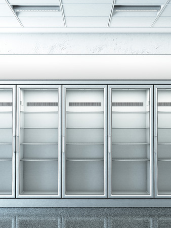 refrigerator with food: store with an empty fridge