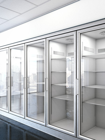store with an empty fridge