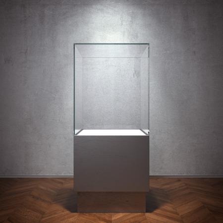 Empty glass showcase for exhibit photo