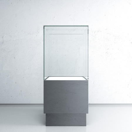 podium: Empty glass showcase for exhibit
